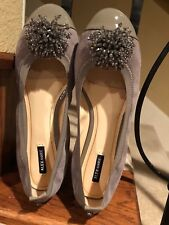 Alex Marie Pewter Suede Ballet Flat with Beaded Accent and Patent Toe,  sz 9.5 M