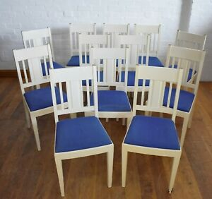 Antique vintage painted farmhouse set of 12 continental dining chairs