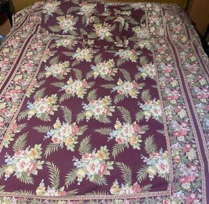 Vintage April Cornell French Floral Quilt Bedspread Set QUEEN Cases Burgundy