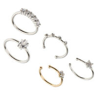 5Pcs Body Jewelry Nose/Ear/Lip Hoop Ring Studs for Women Silver Piercing