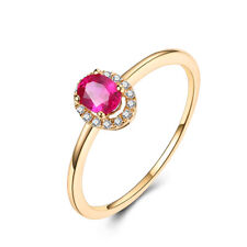 Solid 10K Yellow Gold 0.4CT Oval 4.5x3.5mm Ruby Real Diamonds Gemstone Halo Ring