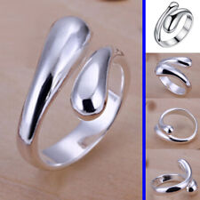 925 Sterling Silver plated Adjustable Finger Ring Teardrop Thumb Band Fashion UK
