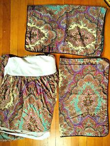 Set Vtg Ralph Lauren BRITTANY EMERSON: 1 QUEEN Bedskirt + 2 Standard Pillow Case