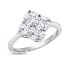 1.08 Ct. Natural Diamond Clover Cocktail Ring In Solid 14k White Gold