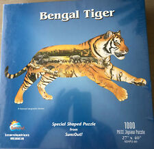 National Geographic Bengal Tiger 1000 Piece Tiger Shaped Jigsaw Puzzle