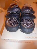 Geox Schuhe Baby Mädchen Gr. 22 dunkelblau silber Rosen Klettverschluss Laufen