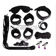 8pcs Restraint Set Gag Whip Cuffs Rope Blindfold Collar Kinky Bondage Toy Black