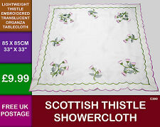 Scottish Gift Thistle Embroidered Organza Tablecloth Shower Cloth Square C390