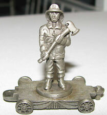 Vintage Miniature Pewter FORT Train Flat Car FIREMAN & AXE lasting expressions