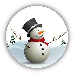 24-Pack 40mm Funny Snowman Decor Xmas Stickers Decals ideal decorating cards