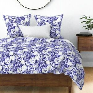 Floral Modern Flowers White Blue And Toss Coastal Sateen Duvet Cover by Roostery