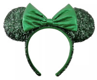 Disney Parks Emerald Green Minnie Sequined Headband Ears Shimmering Bow NEW