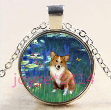 Pembroke Welsh Corgi Cabochon Tibetan silver Glass Chain Pendant Necklace #4221