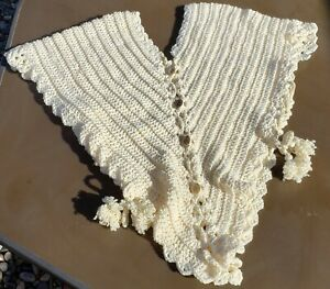 Cream Colored Crocheted HUG ME TIGHT SONTAG  1800's to early 1900's