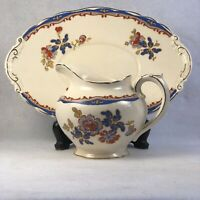 Antique Wedgwood Bone China Creamer and Tray Set Blue and Red Flowers Stafford