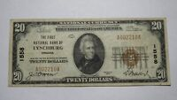 $20 1929 Lynchburg Virginia VA National Currency Bank Note Bill Ch. #1558 VF!