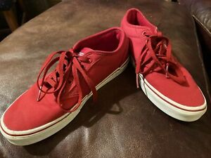 Vans Men's Atwood Athletic Shoes Sz 8 US Used Red Canvas Sneakers