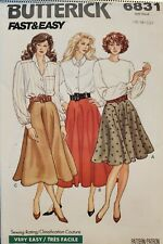 Vtg Butterick fast & easy pattern 6831 Misses'/Petite flared Skirt sz 6-10 uncut