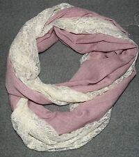 NEU Rundschal Rosa Creme mit Spitze Shabby Chic Tuch Schal Loop New Romantic