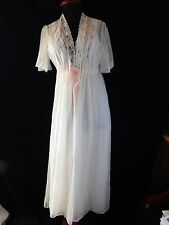 White Vintage Dream Away Bridal Set, Peignoir, Med, Nylon, Gown & robe