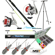 SEA FISHING SET - 2 X 12FT BEACHCASTER RODS + 2 X SEA REELS + TRIPOD + TACKLE