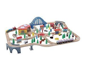 Delux Wooden Train Set 120 Piece - Compatible with Brio & Thomas