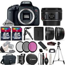 Canon EOS Rebel T7i SLR Camera 800D + 50mm 1.8  -3 Lens Kit + 64GB + Much More!