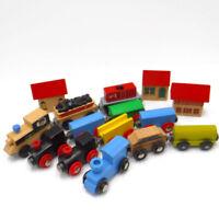 WOODEN TRAIN LOT Engine Cars Houses Fits Thomas & Brio Railway Track