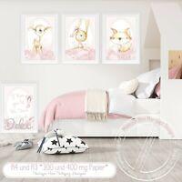 Kinderzimmer Bilder Babyzimmer Poster Waldtiere Reh, Hase & Fuchs ROSA A4|SET 46