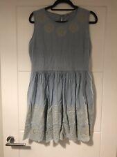 Jack Wills Light Blue Denim Floral Ethnic Embroidered Sun Dress Sz 14
