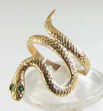 DETAILED 9CT YELLOW GOLD COLOMBIAN EMERALD EYES SNAKE RING FREE RESIZE