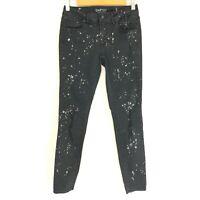 Empyre Womens Jeans Tessa Skinny Splatter Distressed Black Stretch Size 3