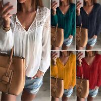 ZANZEA Women Long Sleeve Lace Sheer Crochet Loose Baggy T Shirt Tops Blouse Plus