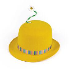 Cute Yellow Clown Bowler Daisy Flower Adults Circus Fancy Dress Hat
