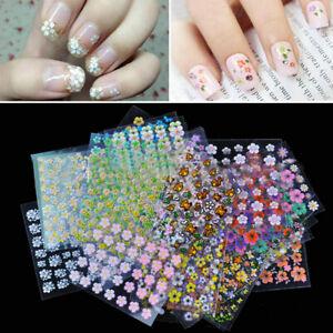 50 Sheet Flower Decal Transfer Manicure 3D Nail-Art Sticker Tips Decoration DIY