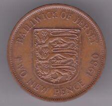 Jersey 2p new pence 1980 bronze coin-Trois lions dans sheild