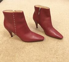 Zara  Red Leather High Heel Ankle Boots With Mini Studs UK5 EU38 US7.5 # 590