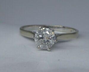 Damen 585 Weißgold Solitär Ring mit Brillant 0,79 ct