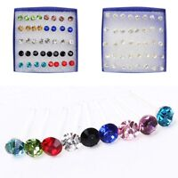 20 Pairs Crystal Rhinestone Plastic Round Stud Earrings Women Jewelry Girl