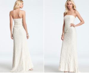 Ann Taylor Women's Dress Sz 0 Petite Ivory Bridal Dresses Strapless Wedding Gown