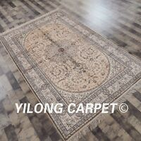 Yilong 5'x8' Medium Handmade Carpets Medallion Hand Knotted Silk Area Rugs Y82B