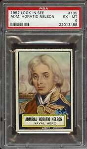 1952 TOPPS LOOK 'N SEE #109 ADM. HORATIO NELSON PSA 6 *DS11716