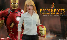 IRON MAN 3~PEPPER POTTS & MARK IX~SIXTH SCALE FIGURE SET~MMS311~HOT TOYS~MIBS