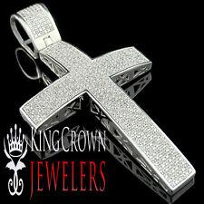 Real Genuine Diamond White Gold Finish Jesus Cross Pendant Piece Charm 3.5 Inch