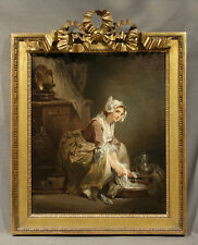 """18th Century French Oil Painting """"Style of"""" Jean Baptiste Greuze """"The Laundress"""""""