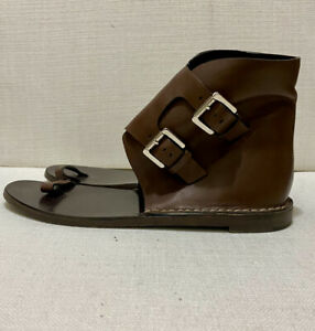MICHAEL KORS MK Brown Leather Ankle Cuff Thong Sandal Shoes - Sz 39.5