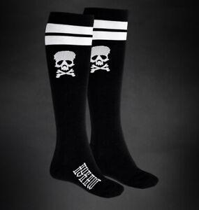 Hyraw Gothic Goth Punk Skater Socken Strümpfe - Skull Knee Black Totenkopf