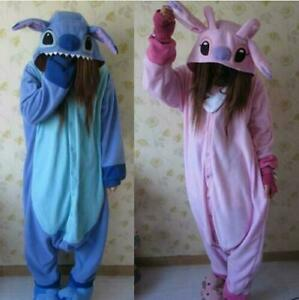 Unisex adult pajamas Kigurumi anime suit clothes flannel Lilo stitch Sleepwear