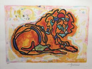 AVI FARIN -  LION  -  ORIGINAL LITHOGRAPH   HAND SIGNED  NEVER FRAMED   RARE