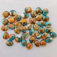 5 Pieces 9x11 mm Oval Natural Mohave Copper Turquoise Cabochon Loose Gemstone